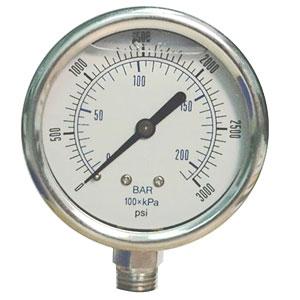 """Pressure Gauge, 0 - 300 psi/bar, 2"""" dial, ¼"""" Male NPT, Glycerin, Stainless Steel"""