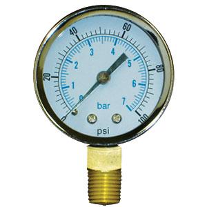 """Pressure Gauge, 0 - 30 psi, 2"""" dial, 1/8"""" Male NPT Lead Free"""