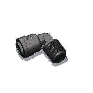 "1/2"" Tube x 1/2"" Male NPTF Elbow - Black (10/Bag)"