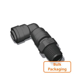 "3/8"" x 1/4"" Male NPTF Swivel Elbow-Black (Bulk Pkg)"