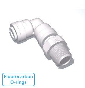 """3/8"""" x 1/4"""" Male NPTF Swivel Elbow w/Fluorocarbon O-rings"""