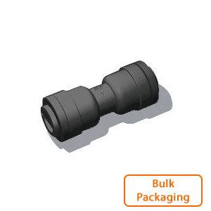 "3/8"" Tube x 1/4"" Tube Union-Black (Bulk Pkg)"