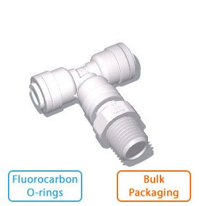 "1/4"" x 1/4"" Male NPTF x 1/4"" Branch Tee w/Fluorocarbon O-rings (Bulk Pkg)"